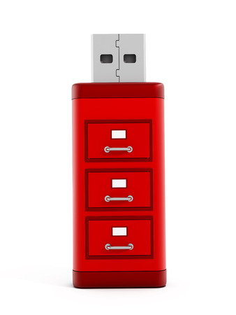 usb storage device: File drawers on red usb storage device