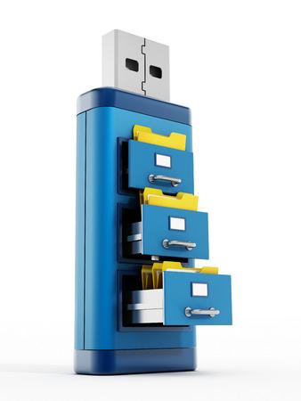 documentation: File drawers on blue usb storage device Stock Photo