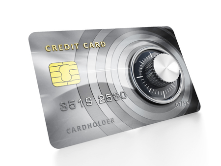 e card: Credit card with lock isolated on white background