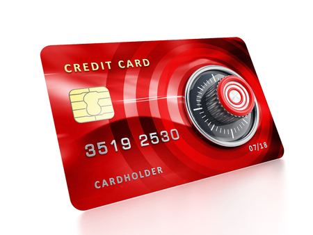 safety box: Credit card with lock isolated on white background