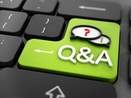 Questions and answers key on the keyboard Stock Photo