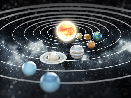 Solar system with eight planets  photo