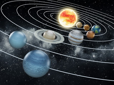 Solar system with eight planets Stock Photo - 30153905