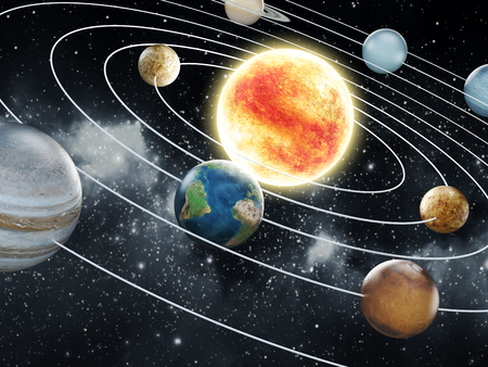 Solar system with eight planets 免版税图像 - 30153920