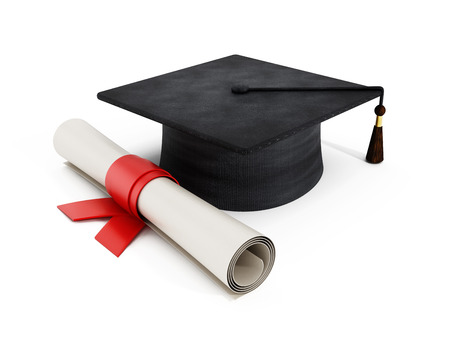 mortar board: Mortar board and diploma isolated on white  Stock Photo
