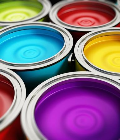 Paint cans, multi-colored, vertical composition