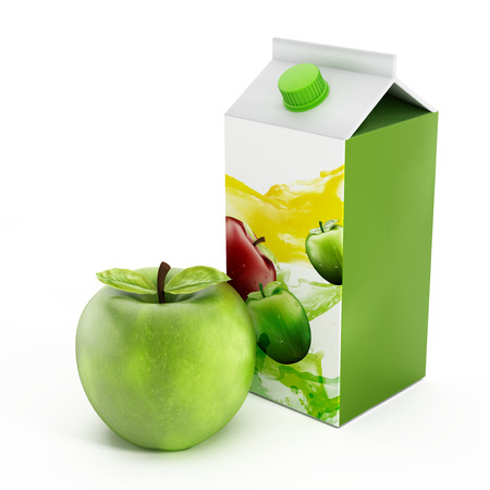 liter: Apple juice and green apple isolated on white background  Stock Photo