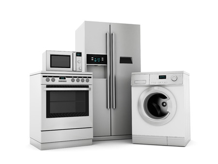 Group of house appliances isolated on white  photo