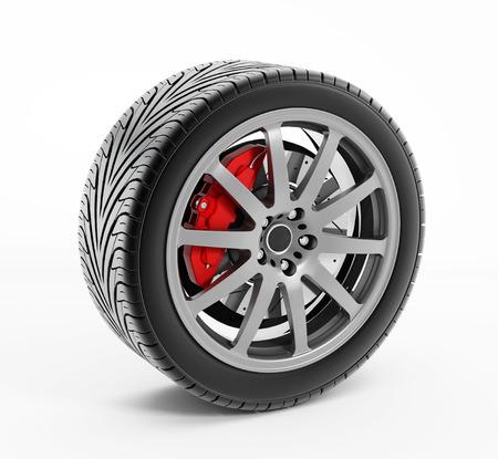 brake caliper: Performance tire with red big brake caliper