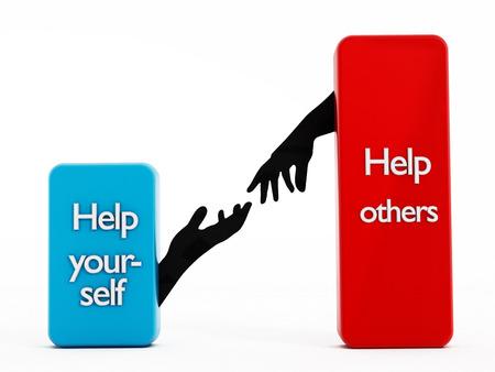 ego�sta: Ayudarse a s� mismo, ayudar a otros textos en formas rectangulares.