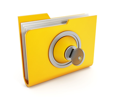 Yellow folder with a key isolated on white. photo