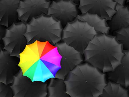 Multi-colored umbrella stands out