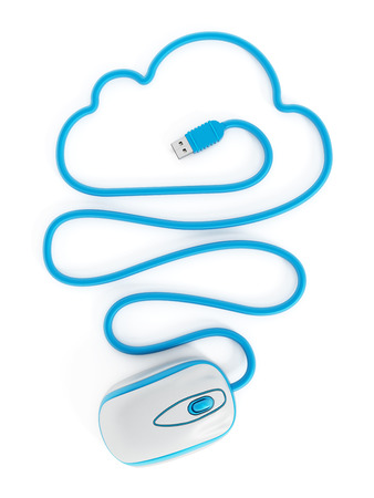 Cloud computing concept with cloud shaped mouse cord. photo