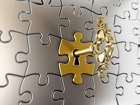 Golden key on the puzzle part.