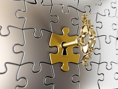 Gouden sleutel op het deel van de puzzel.