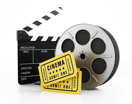 movie ticket: Film slate, reel and tickets isolated on white Stock Photo