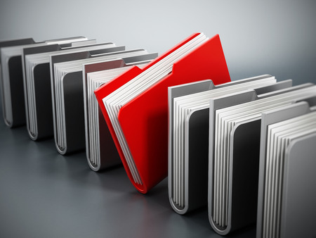 important information: Red folder stands out among gray files.