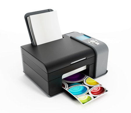 office printer: Generic computer photo printer isolated on white. Stock Photo