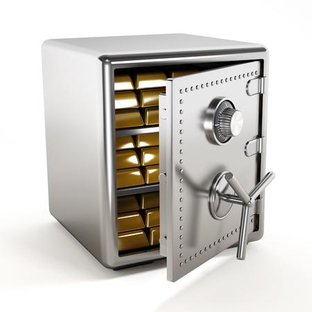 ingots: Gold ingots standing inside steel safe
