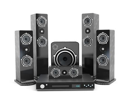 bluray: 5 plus 1 Speaker set isolated on white background.