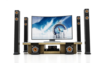 bluray: Home theater system with subwoofers, speakers and blu-ray player