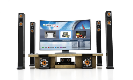 stereo subwoofer: Home theater system with subwoofers, speakers and blu-ray player