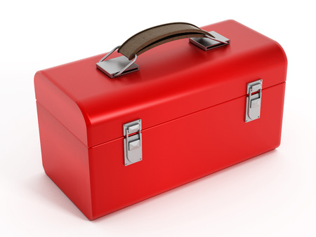 Red toolbox isolated on white.