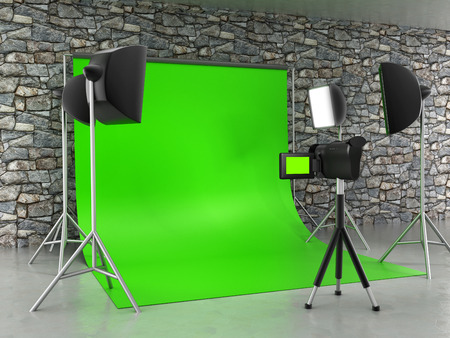light green wall: Greenscreen studio setup