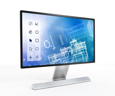 컴퓨터 화면에 3D 설계 소프트웨어. 스톡 콘텐츠