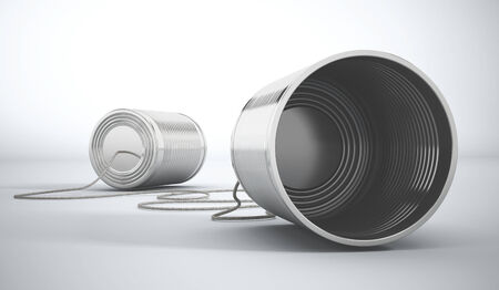 tin can telephone: Tin cans attached to each other.