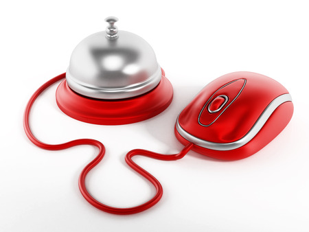 hotel booking: Online hotel booking concept with service bell and mouse.