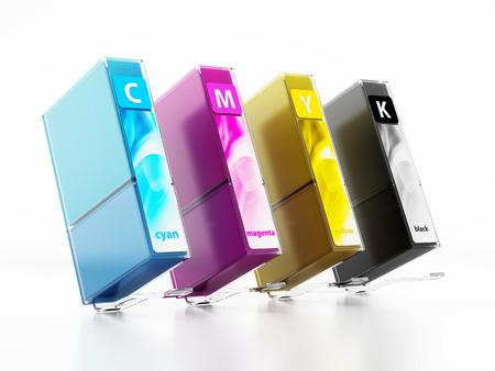 Inkjet printer cartridges isolated on white. 스톡 콘텐츠