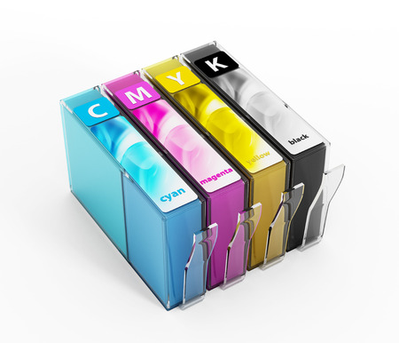 inkjet printer: Inkjet printer cartridges isolated on white. Stock Photo