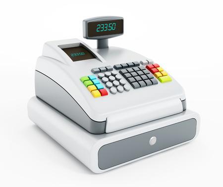 efectivo: Caja registradora aislados sobre fondo blanco.