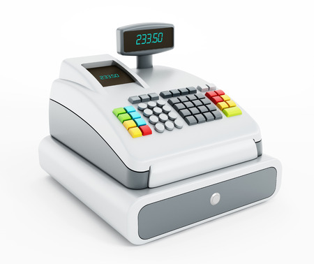 Cash register isolated on white background.