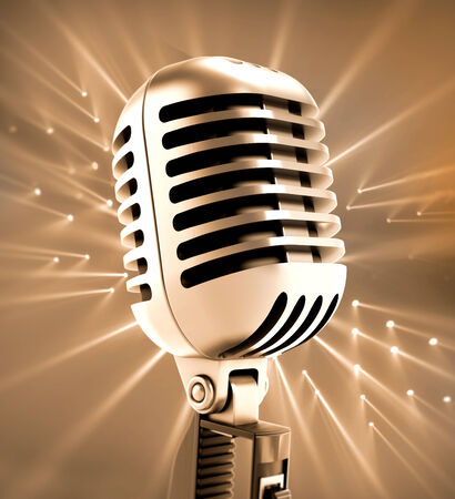 vintage microphone: Vintage microphone isolated on white. Stock Photo