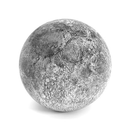 Moon isolated on white background.