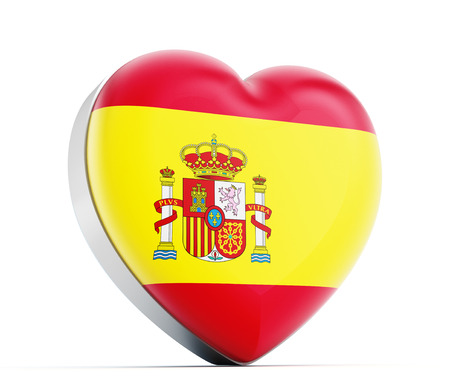 spainish: I love Spain heart shaped Spainish flag. Stock Photo