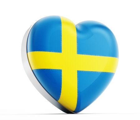 I love Sweden heart shaped Turkish flag. photo