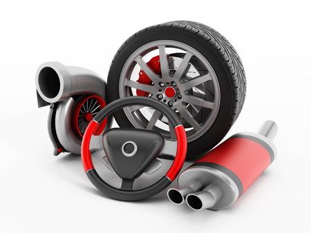 brake caliper: Turbo, tire, brake caliper, stering wheel, exhaust manifold isolated on white.