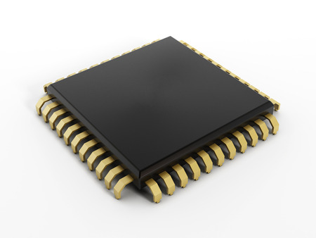 computer chip: Computer chip isolated on white background. Stock Photo