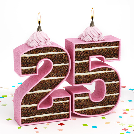 layer cake: Number 25 shaped chocolate birthday cake with lit candle. Stock Photo