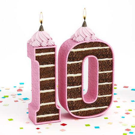 numero diez: Número 10 de la torta de cumpleaños de chocolate con forma de vela encendida.