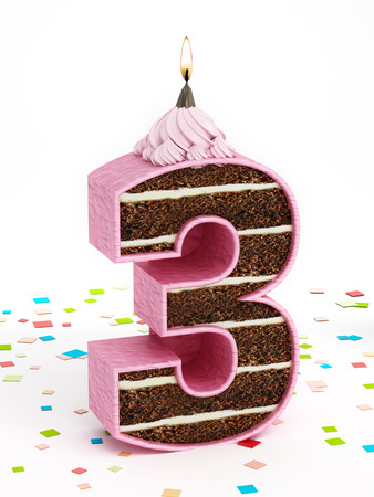 three layered: Number 3 shaped chocolate birthday cake with lit candle.
