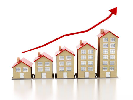 real estate market: Rising housing market concept with multi-floor buildings. Stock Photo
