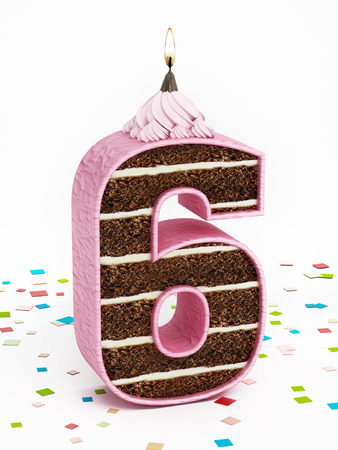 number 6: Number 6 shaped chocolate birthday cake with lit candle. Stock Photo