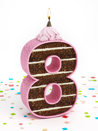 8 years birthday: Number 8 shaped chocolate birthday cake with lit candle. Stock Photo
