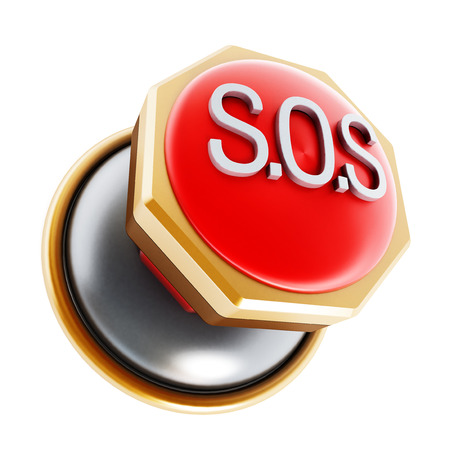 sos: Push button with SOS text isolated on white background.