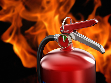 Fire extinguisher on flame background. Stock Photo