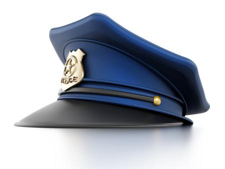 gorra policía: Sombrero de policía aislado en el fondo blanco.